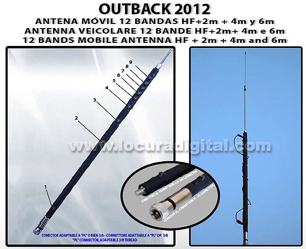 FALCON OUTBACK 2012 MOBILE HF 12-Band ANTENNA 80 / 40 / 30 / 20 / 17 / 15 / 12 / 11 / 10 / 6 / 4 / 2 meters