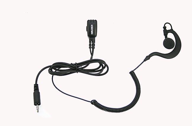nauzer pin29pkt micro auricular orejera, cable rizado negro alta gama para kenwood pkt23