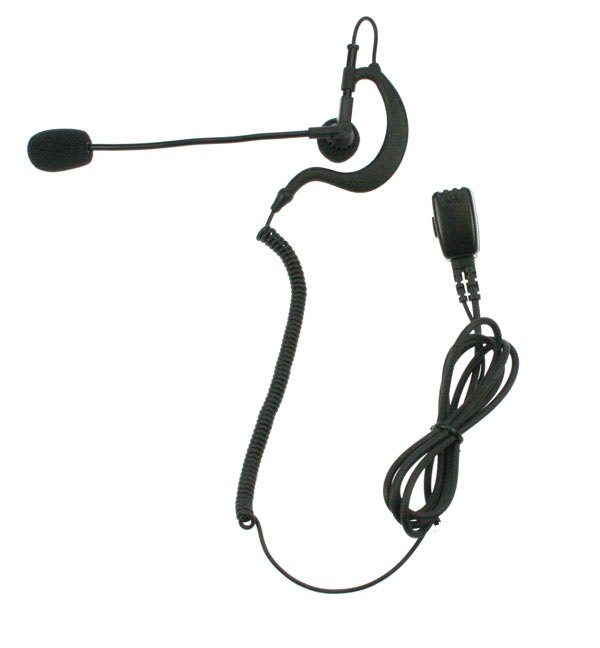 Nauzer PIN-49-S. High quality earphone with flexible microphone arm and PTT. For MIDLAND handhelds
