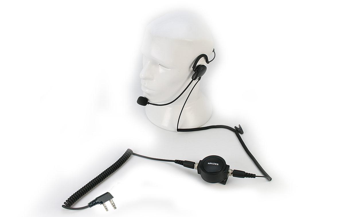 NAUZER PIN-59K. Micro-Auricular tipo diadema de nuca, microfono tipo pertiga a la boca y PTT profesional de gran tamaño para ser fácilmente utilizado con guantes.