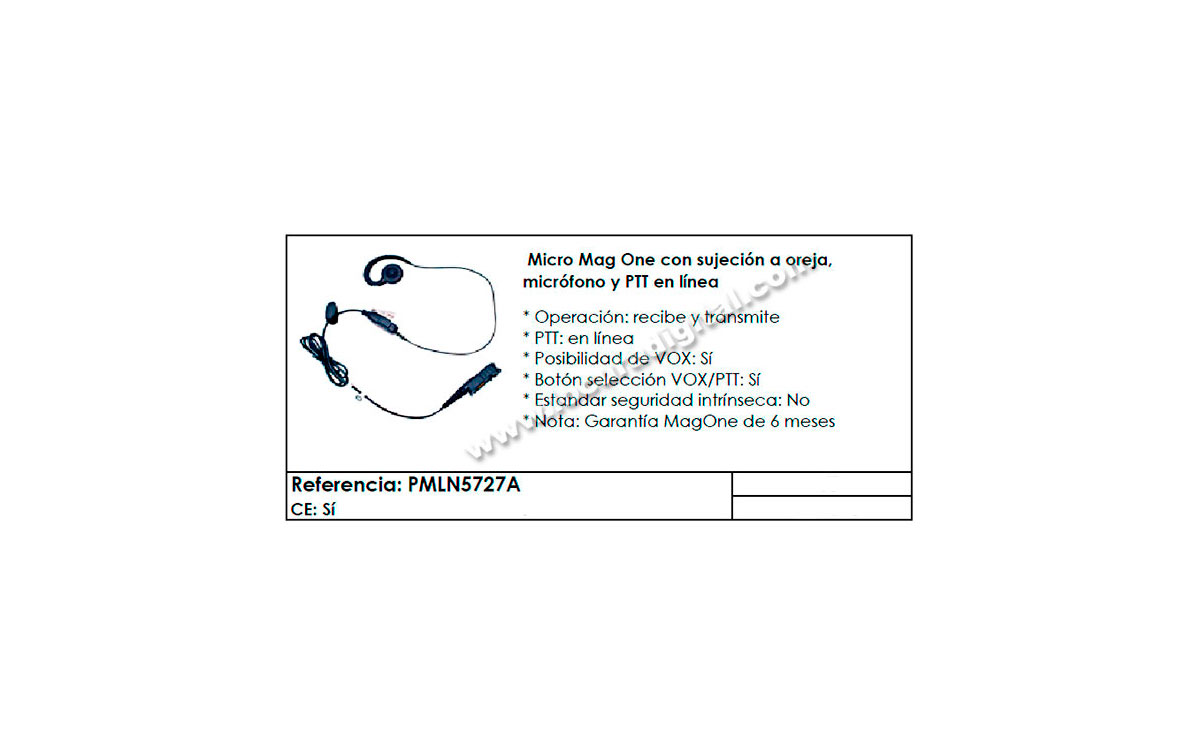 PMLN5727 MOTOROLA micro-auricular orejera para series DP3441, DP2000, DP2400, DP2600, MTP3000, MTP31