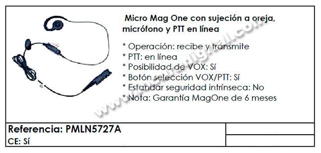 pmln5727a micro auricular original motorola de oreja ptt y vox