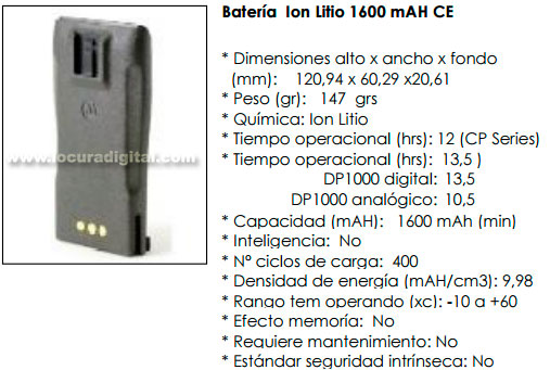 PMNN4253AR Bateria ORIGINAL MOTOROLA para walkie CP040, DP1400. Ultra-Fina en LITIO 1600 mAh
