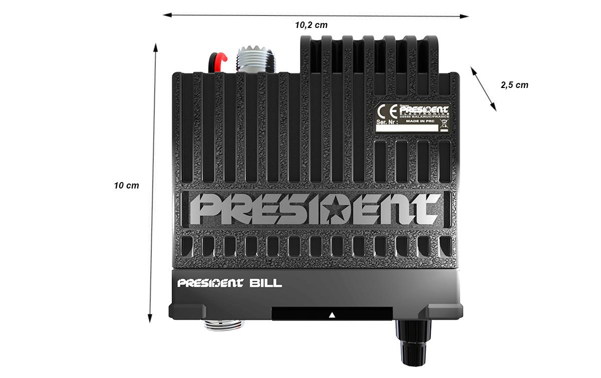 president bill-asc emisora cb 40 canales am/fm. el tamaño extremadamente compacto president bill y la estructura de metal fundido hacen que sea prácticamente indestructible.