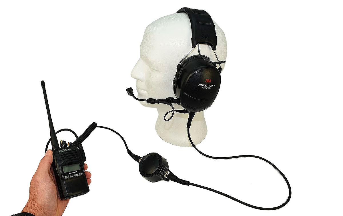 PTT-330K Cable con PTT grande profesional con conector Kenwood dos pins y conector tipo Peltor para walkie talkies Kenwood compatible con Peltor Flex Headset, Peltor OraTac Peltor FMT120 y WS5 Adapter