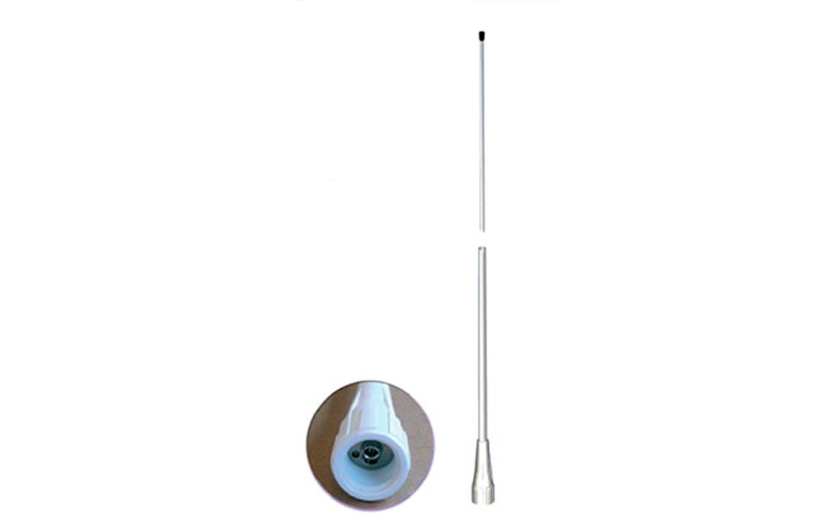 QUICK-150-VHF MIRMIDON Antena Marina Nautica Fibra Vidrio VHF 156-162 Mhz.6 dB.Longitud antena 2,5 mts.