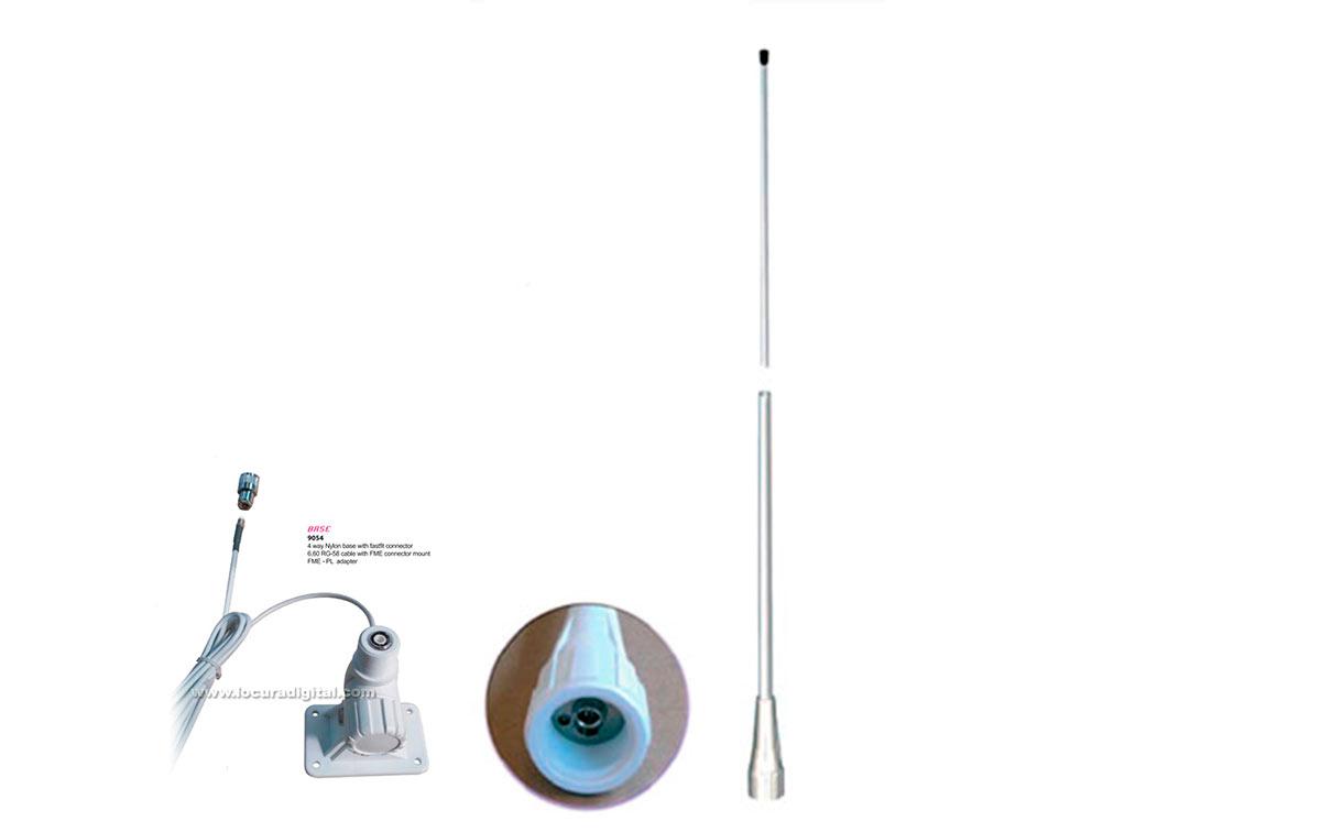 QUICK-150-VHF MIRMIDON Antena Marina Nautica Fibra Vidrio VHF 156-162 Mhz.6 dB.2,5 mt.
