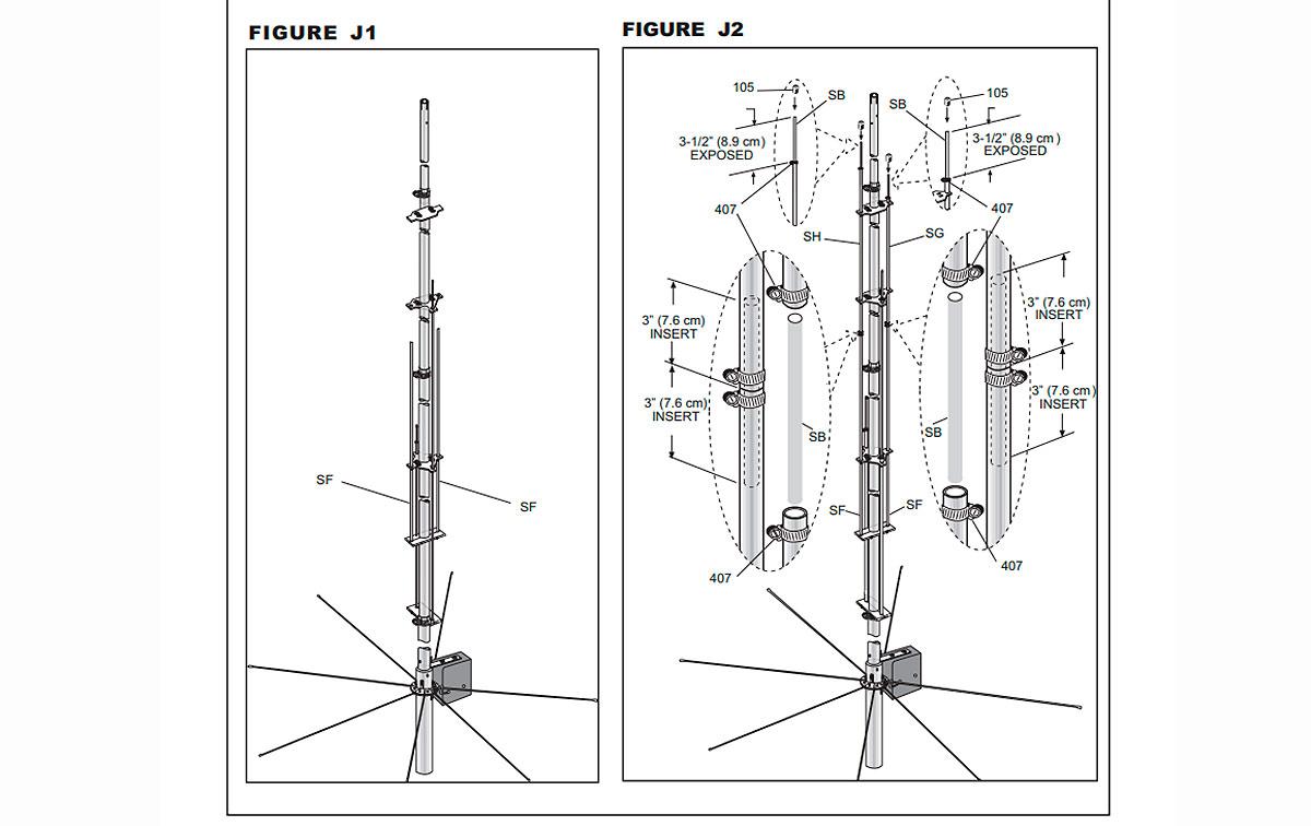 R9 CUSHCRAFT Antena vertical HF multibanda 9 bandas 6, 10, 12, 15, 17, 20, 30, 40 y 80 metros.