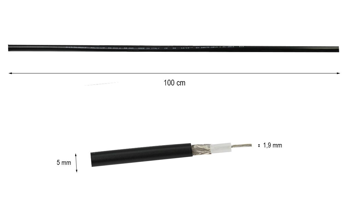 RG-58 Cable coaxial baja perdida venta por metros, diametro exterior 5 mm, para radiocomunicacion normas MIL /C17