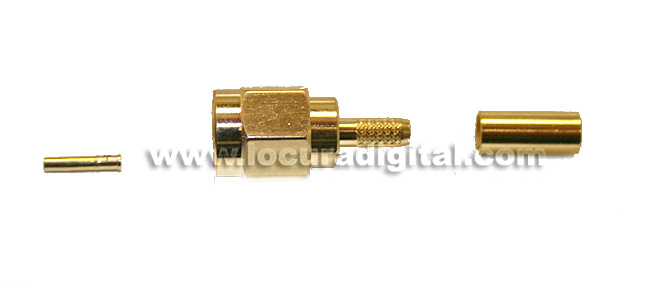 RSMA174M REVERSE SMA crimp connector for RG-174 cable