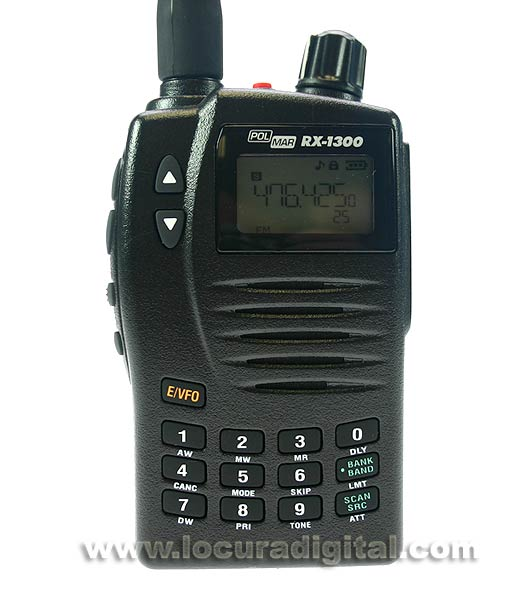 POLMAR RX1300 Portable Scanner frequency receiver. Wide range frequency 0.150 - 1309.995 MHz.