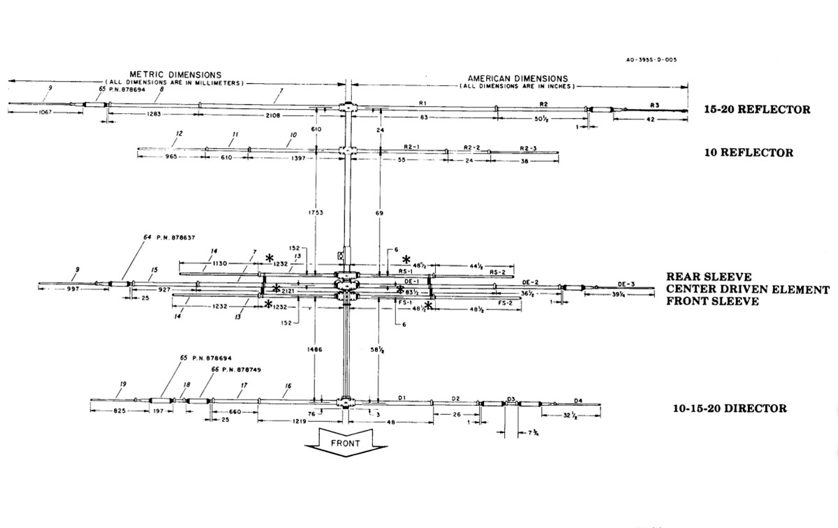 exp14 hy-gain antena explorer 14, tribanda 10/15/20 metros, con boom 4,3 m potencia maxima 1500 watios, ganancia de 8,1 db