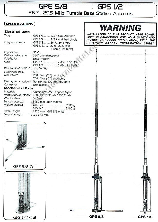 sirio gps 27 1/2. antena cb 26-28 mhz. 1/2 onda.
