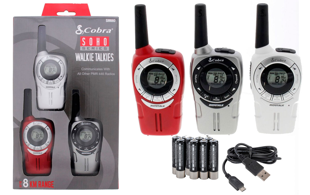 cobra sm-660 tres walkies pmr uso libre colores rojo, plata, blanco
