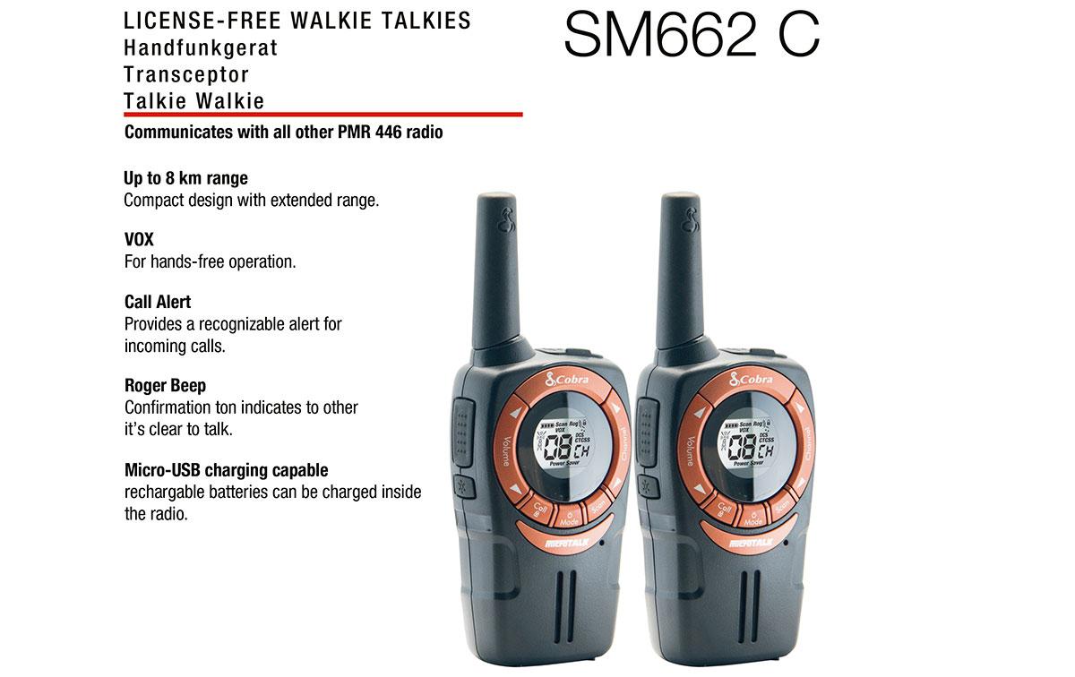 cobra sm-662c pareja de walkies pmr uso libre color negro y cobre