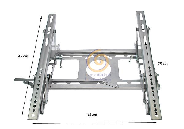 SOP2010PL tilt wall support for LCD, TFT or plasma. 23 to 33 inches. SILVER