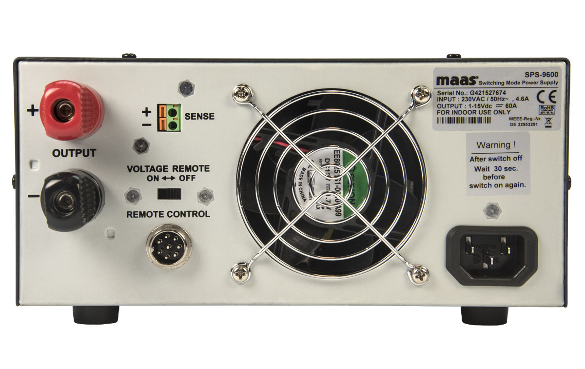 maas sps 9600 fuente alimentacion conmutada 230v/ 3 15v ,60 amper..fuentes de alimentación conmutada con instrumentos digitales, voltimetro y amperimetro. entrada 230 voltios, salida 3 15 voltios regulables, 60 amperios, caja metalica de medidas: 220 x 110 x 360 mm, peso: 5,8 kg.