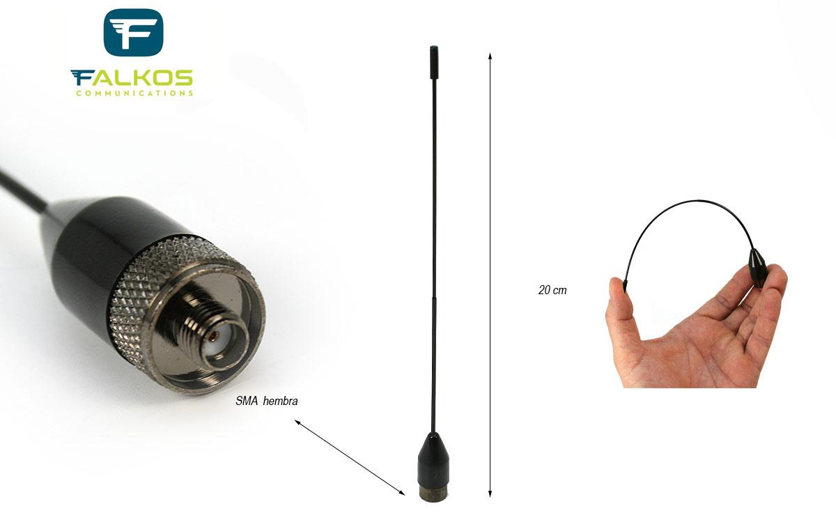 FALKOS SRH519F Antena bibanda para walkies 144 / 430 Mhz. SMA hembra