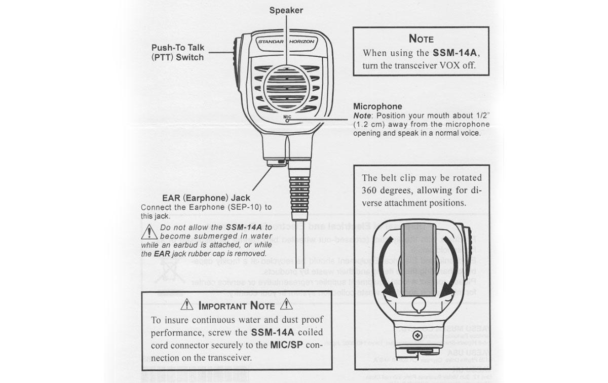 Yaesu SSM-14A Microfono-altavoz de altas prestaciones Sumergible