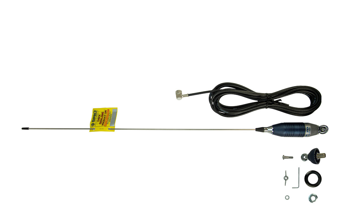 sirio super 70 antena cb 7 mhz. 700 mm. con cable y base tipo palomilla