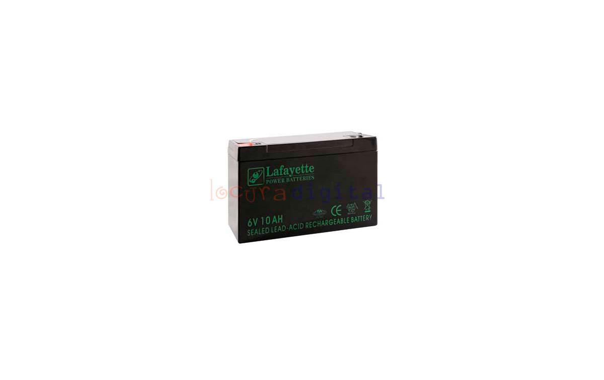 SW 6100 BATERIA  DE PLOMO RECARGABLE Lafayette Power VOLTAGE 6 V. Capacidad 10,0 amperios. Terminal: