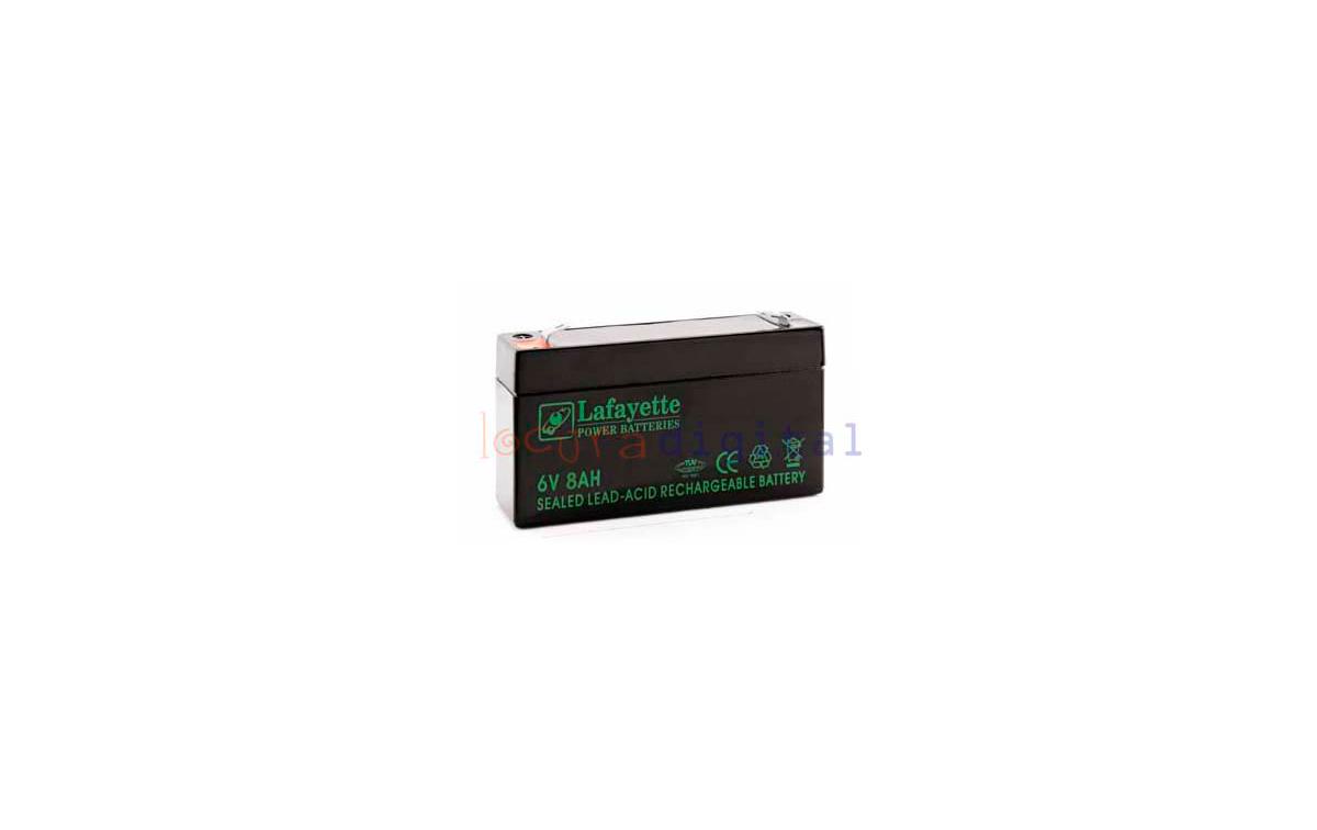 SW 680 BATERIA  DE PLOMO RECARGABLE Lafayette Power VOLTAGE 6 V. Capacidad 8,0 amperios. Terminal: T