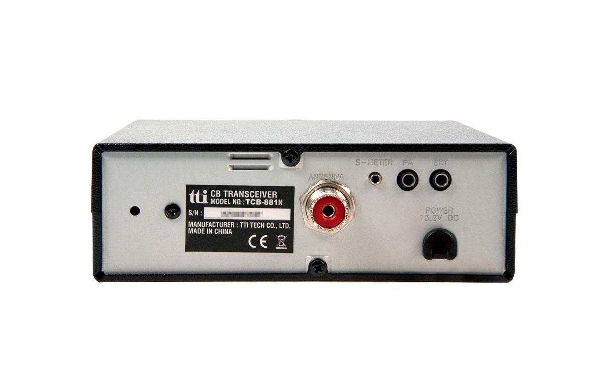 tcb881n tti emisora cb 27 mhz am/ fm voltage12/24 v, ideal para los usuarios que viajan a través de europa, ya que incluye varias opciones para seleccionar bandas de frecuencia cb para italia, alemania, españa, francia, polonia y el reino unido. solo puede seleccionar las bandas uk, ue o ec