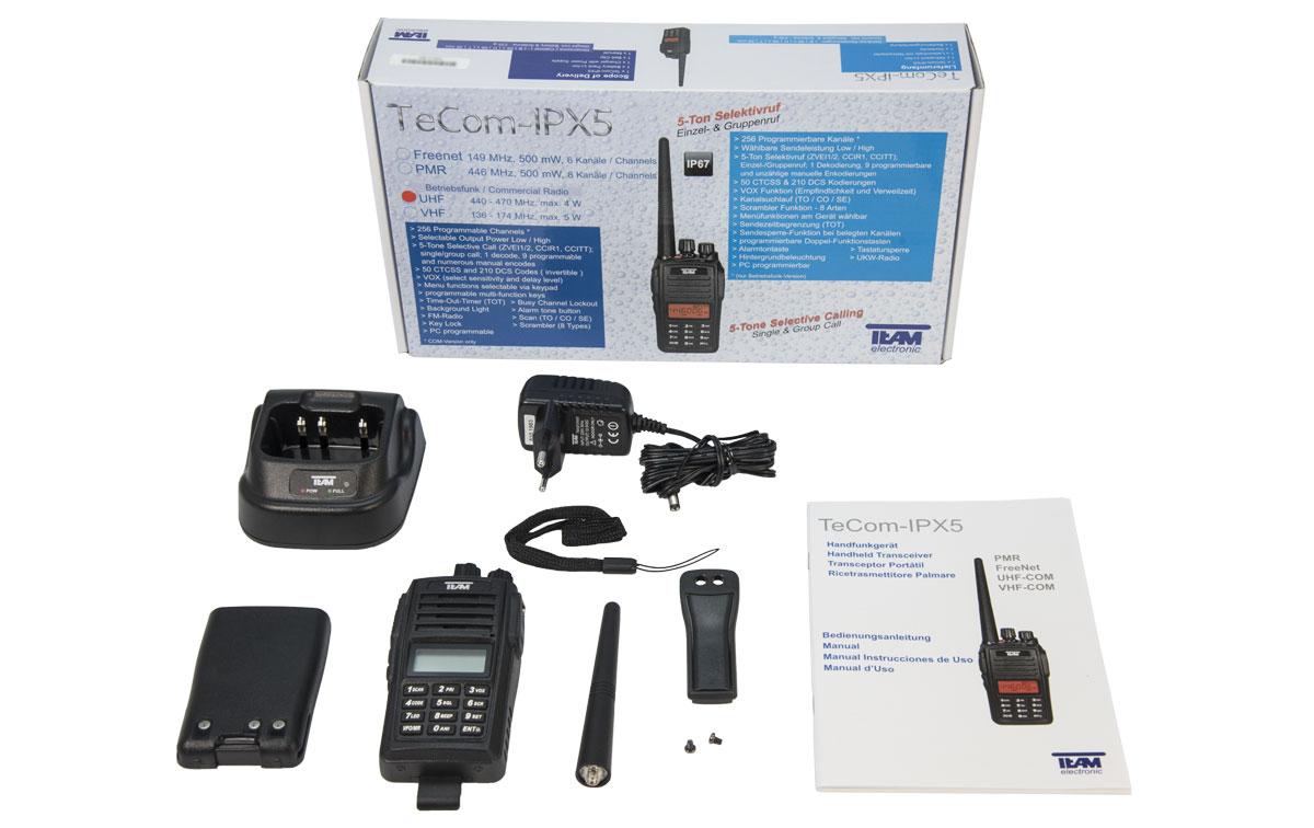 TECOM PR8094 Walkie de caza UHF CON TECLADO IP67, orma IP67: totalmente resistente al polvo y agua (sumergible 1 m. durante 30 minutos)