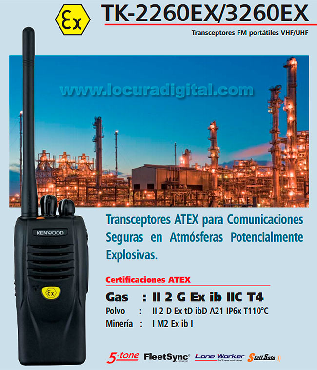 kenwood tk3260exe2 portàtil atex uhf 440-470 mhz - bateria atex li-ion 1030mah knb64lex 1,2w 16 canales.