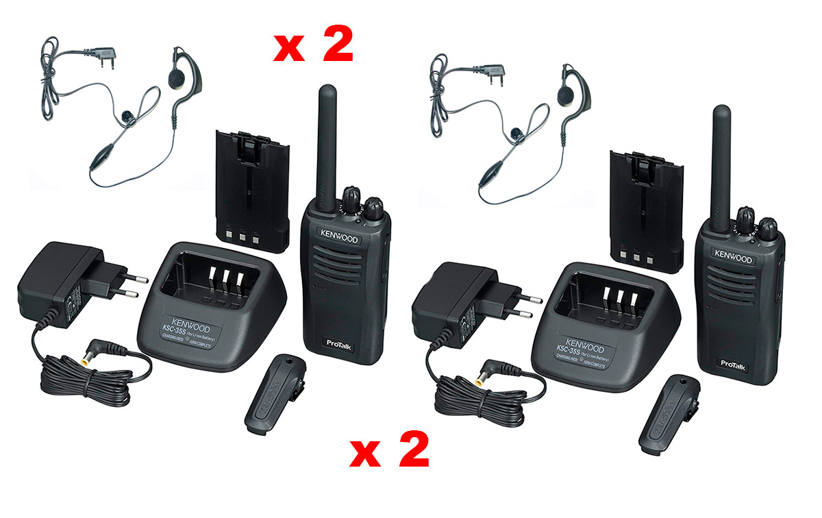 tk3501-kit-x2 kenwood, parejas de dos walkies talkies analógico pmr446 uso libre  2 pinganillos