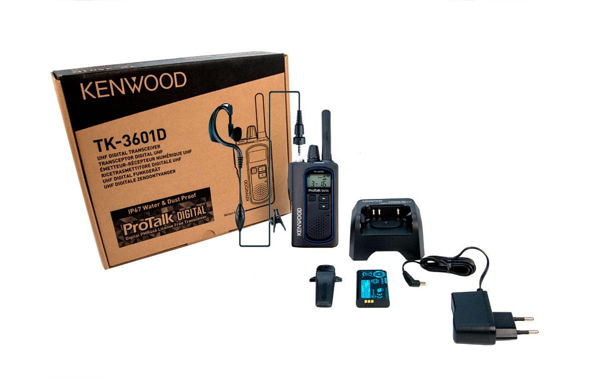 Nuevo Walkie con patalla LCD, DIGITAL Y ANALOGICO KENWOOD TK-3601D de Uso Libre PMR-446, Incluye 1 Pinganillo PIN-19K5