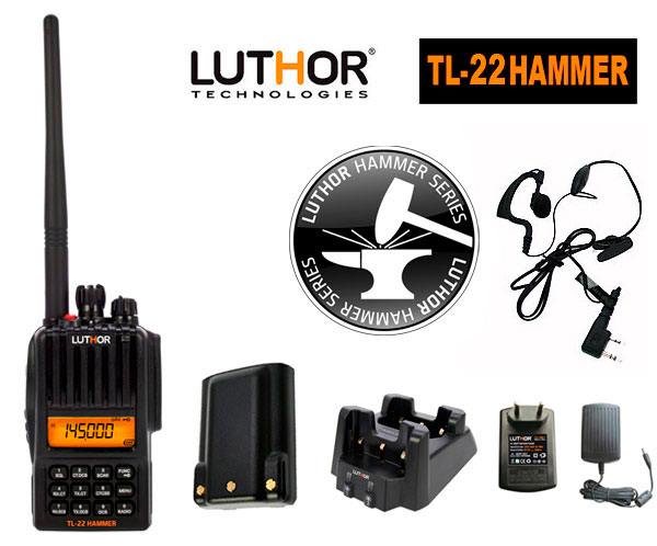 luthor tl-22 hammer bateria alta capacidad tlb-409 walkie monobanda vhf144 mhz. proteccion al agua ip-65