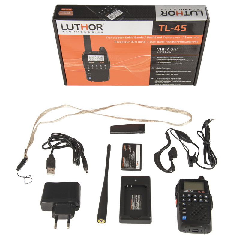 luthor tl-45 walkie doble banda vhf/uhf, 2 wats. tamaño reducido !! regalo de pinganillo pin19t5 !!