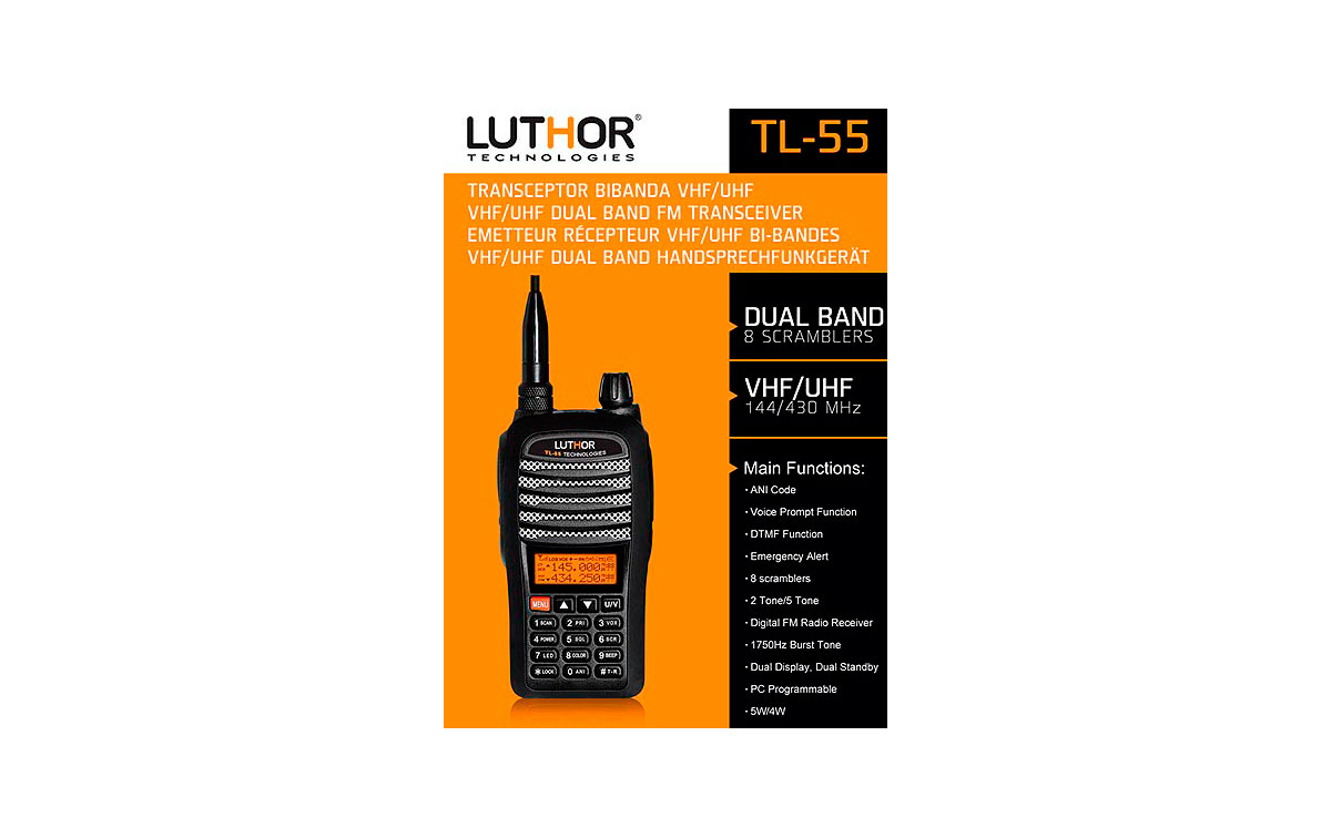 WALKIE TALKIES LUTHOR TL55 KIT1  BI BANDA DUAL BAND VHF/UHF  !! NUEVO EL MAS COMPLETO 8 SCRAMBLER y