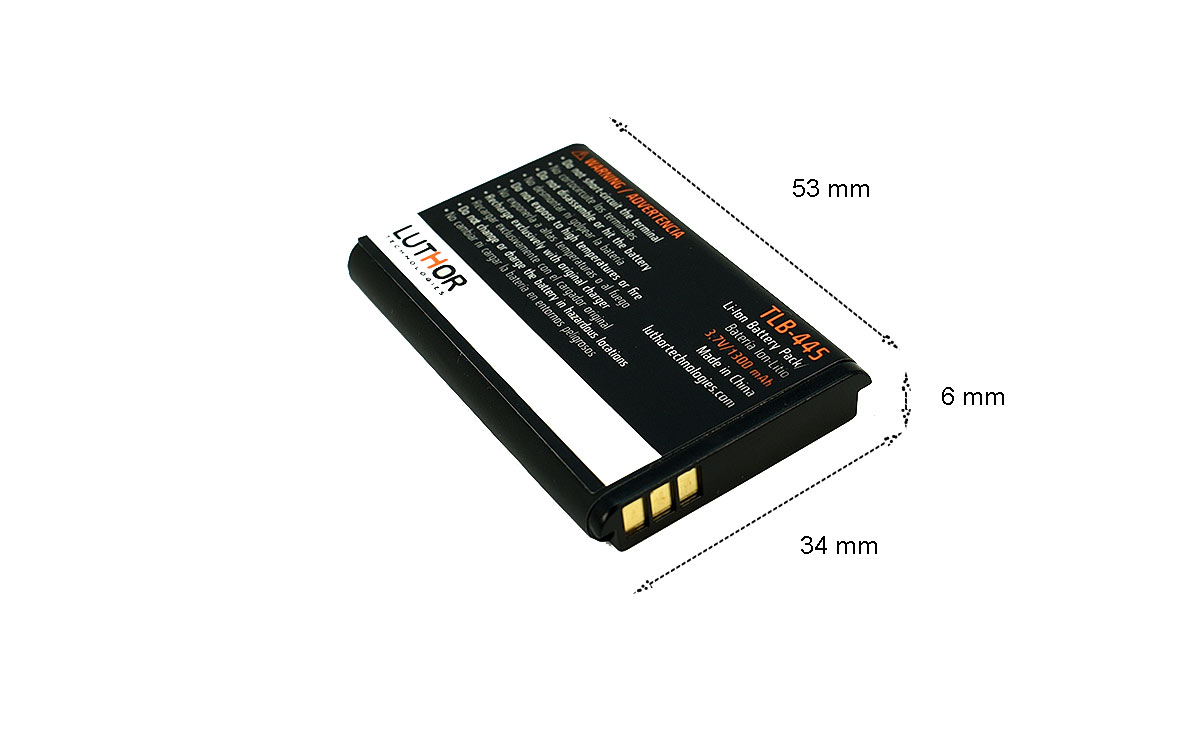 TLB445 LUTHOR Bateria walkie LUTHOR TL-45 y POLMAR DB2, Litio 3,7 voltios, 1.300 mAh.