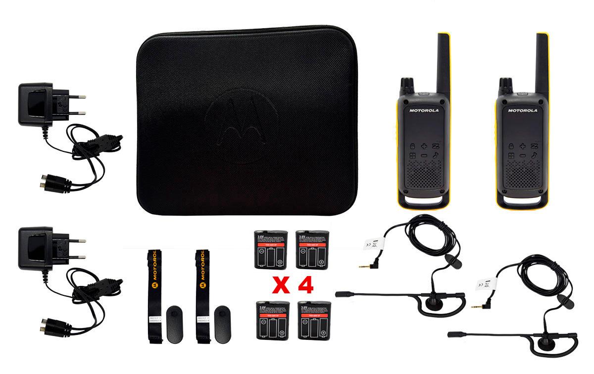 MOTOROLA TLKR T82-EXTREM-BATX4pareja walkies kit 4 baterias +2 PINGANILLOS