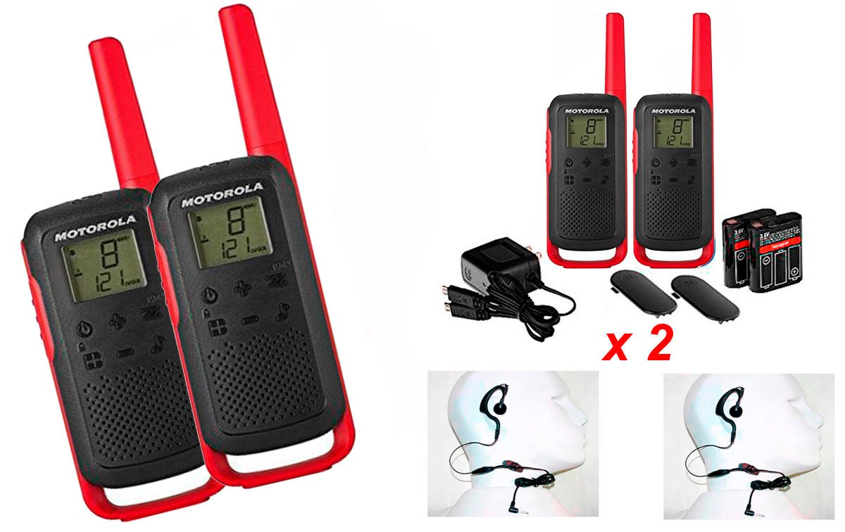 MOTOROLA TLKR-T62-RED pareja walkies uso libre PMR446 color rojo