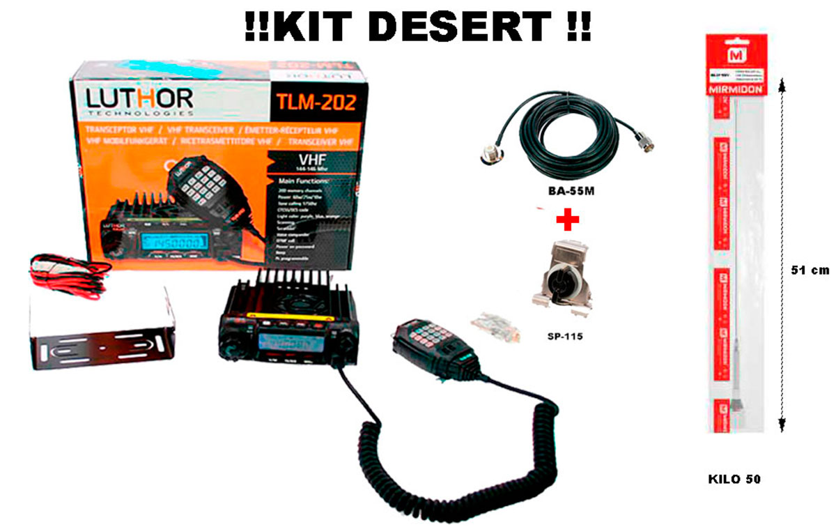 luthor tlm 202-desert emisora móvil vhf 144-146 mhz. - antena kilo 50