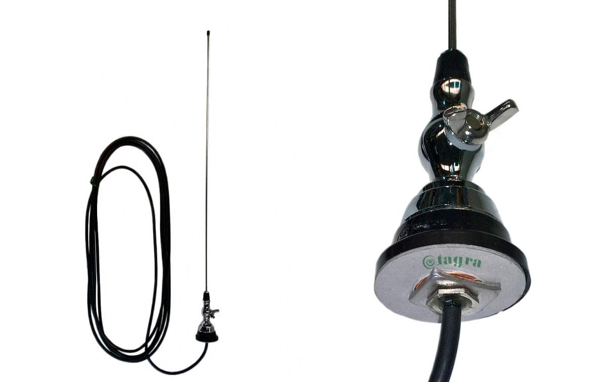 TAGRA VH1 Antena móvil 1/4 VHF 136-175 Mhz.Tipo palomilla,Varilla acero. Longitud cable 4,5 mts RG58. Longitud antena 53 cms.