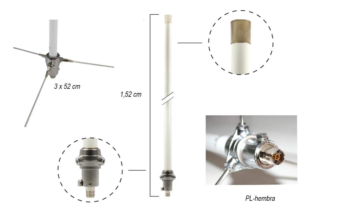 Falkos VH50 Antena ajustable VHF 136-174 Mhz Long.1,75 mts. PL hembra