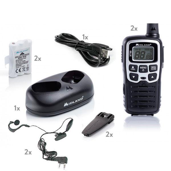 MIDLAND-XT-50 Pareja walkies PMR446 USO LIBRE- Regalo de 2 Pinganillos PIN19S -