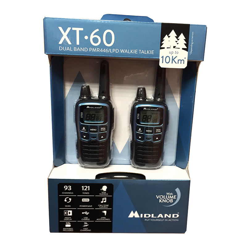 midland xt-60-body pareja walkies pmr446 uso libre color azul metalizado.