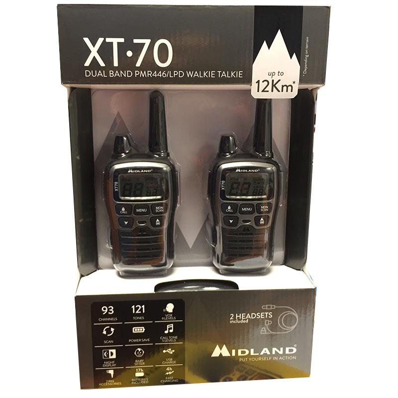 midland xt-70 pareja walkies pmr446 uso libre premium, alcance 12 km