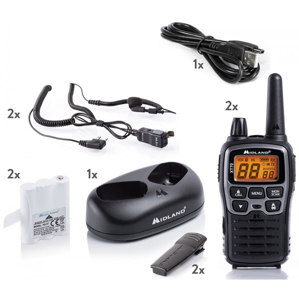 midland xt 70 pareja walkies pmr446 uso libre premium, alcance 12 km
