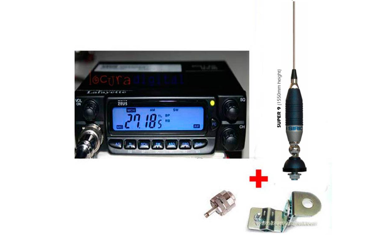 INCLUYE ANTENA SIRIO S9N + SOPORTE PARA RETROVISORES KF 110 + CONECTOR PL 259 para EMISORA.