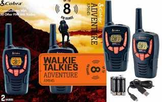 COBRA AM-645 Pareja de walkies PMR uso libre color negro alcance 8 km., Alcance de hasta 8 kil�metros: dise�o compacto y liviano, Tono Roger: tono de confirmaci�n, Ahorro de energ�a: el circuito exclusivo prolonga la vida �til de la bater�a cuando no se t
