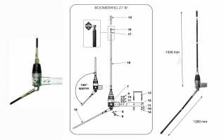 SIRIO BOOMERANG27W Antena de  fibra CB  27 Mhz Balconera 1/4 Onda.