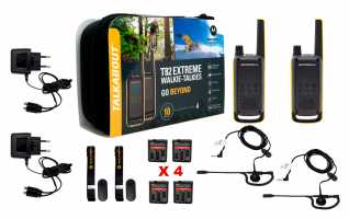 MOTOROLA TLKR T82-EXTREM pareja walkies  kit 4 baterias +2 PINGANILLOS
