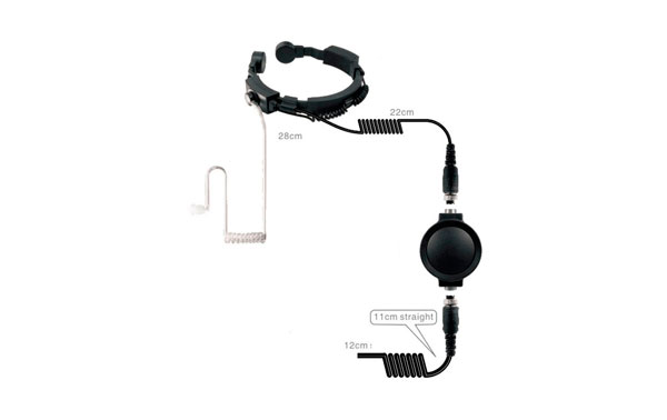 Nauzer PLX330-Y4. Professional throat activated microphone with large PTT button. For YAESU VERTEX handhelds