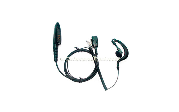PIN29M4  Micro-auricular orejera, cable rizado negro PTT, para walkies MOTOROLA